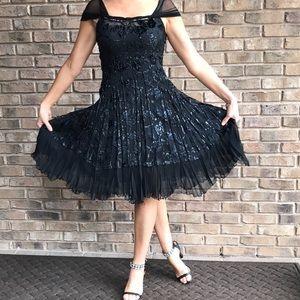 Komarov Black Sheer Velvet Metallic Dress - Small